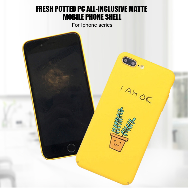 Hangrui Funny Case For iPhone 7 6 8 Plus Case Yellow Small Potted Plants Cute Matte Hard PC Cover For iPhone 8 6 s Plus Fundas