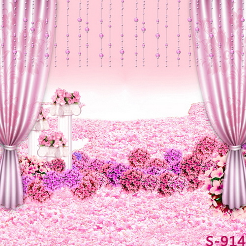 10x10FT Light Pink Flowers Bouquet Floor Room Beads