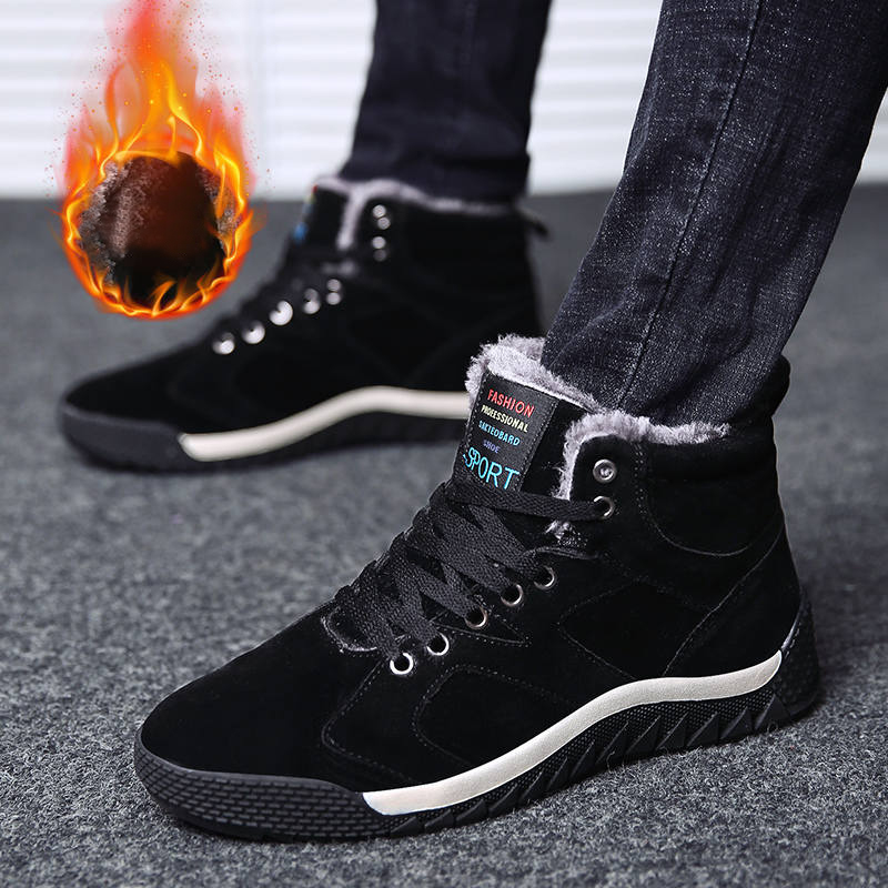Men's Winter Boots Warm Fur Plush Snow Booties Sneakers High Quality Shoes Man Lace Up Footwear Male Adult Zapatos Plus Size 47