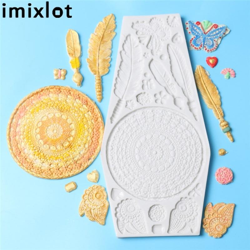Imixlot fondant au chocolat Gâteau Moule Dream Catcher Plume Papillon Cristal pendentif de bijouterie Silicone Moule accessoire de cuisine