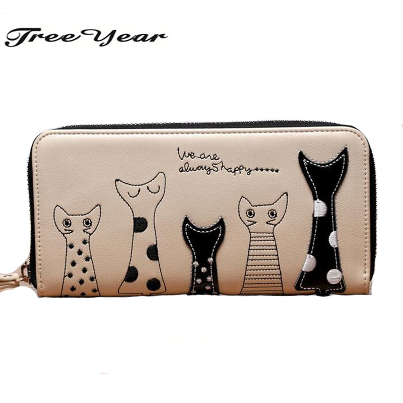 2017 New Ladies Purses In Europe And America Long Wallet  Female Cards Holders Cartoon Cat PU Wallet Coin Purses Girl new lcd display screen for nikon d5 d500 digital camera repair part backlight touch