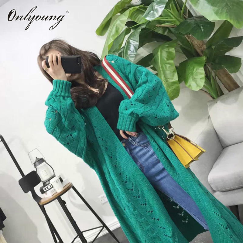 Onlyoung Oversized 2018 Autumn Winter Women Long Knitted Knitwear Crochet Jumper Cardigan Maxi Sweater Cardigan