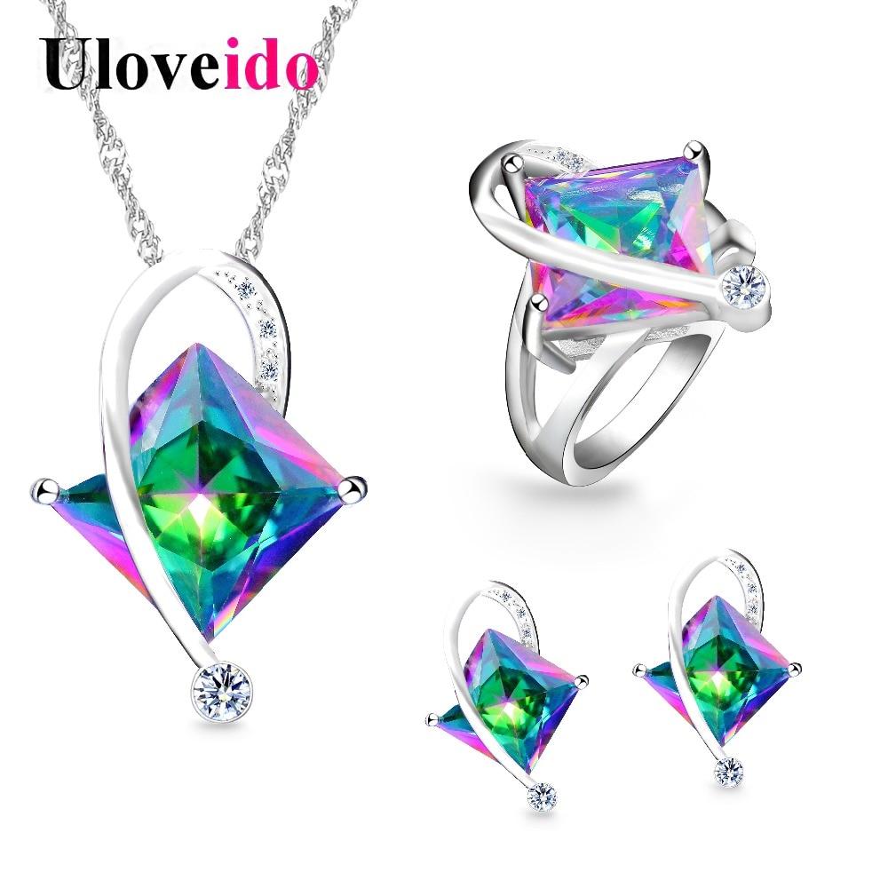 Uloveido de cristal de las mujeres conjunto de joyería de la boda de plata conjuntos de Color Multicolor pendientes anillo collar con piedras grandes T295