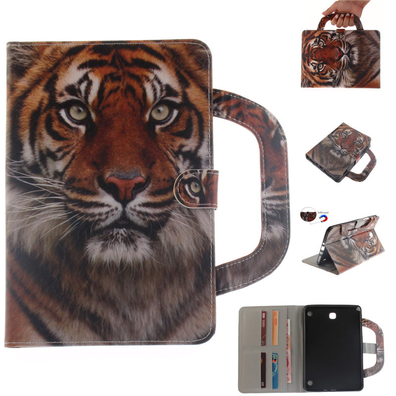 Animal Style Handle Bag Case For Samsung Galaxy Tab A 8.0 T350 T351 T355 P350 Smart Case Tablet PU Leather Stand Funda Cover