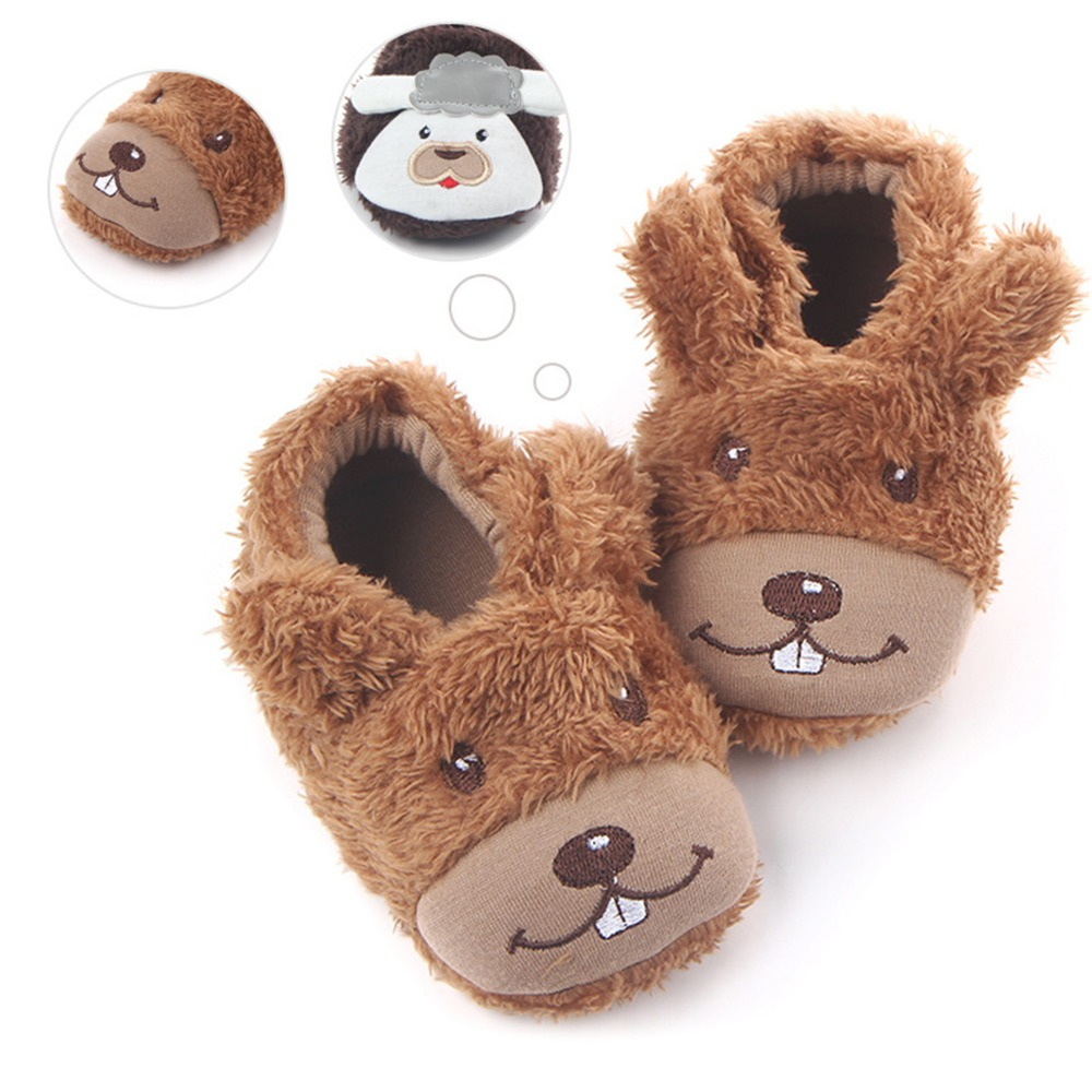 Cute Cartoon Dog Cow Baby Slippers Kids Crib Shoes Plush Warm Toddler Indoor First Walkers Baby Girl Boy Soft bottom Shoes.CX45