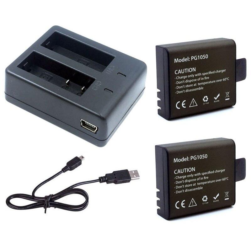 1 unids cargador + 2 unids 1050 mAh de batería recargable de Li-Ion para EKEN H9 H9R H8PRO H8R SJ4000 accesorios para cámaras de acción