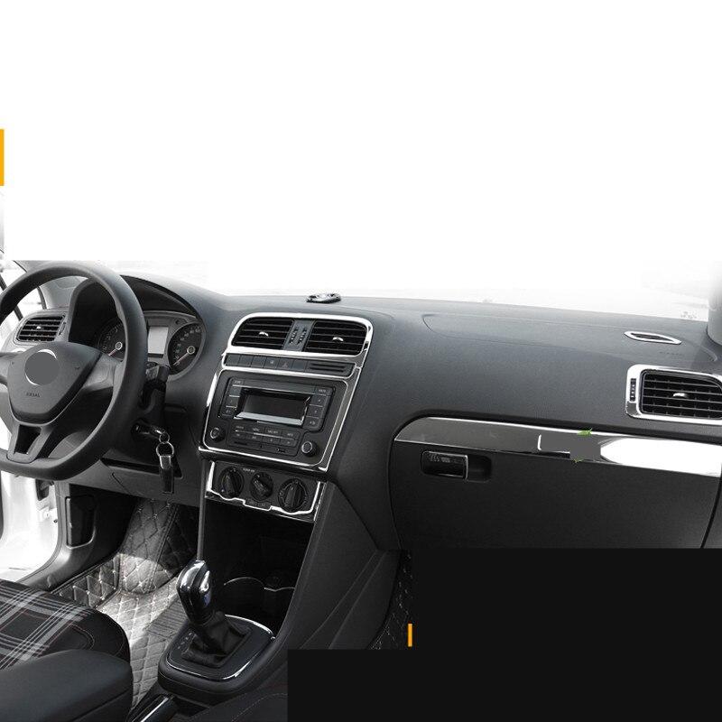 Серебристая нержавеющая сталь молдинги воздуха на выходе/фар/окна siwch рамки для Volkswagen POLO2011 12 13 14 15 16 AA339A
