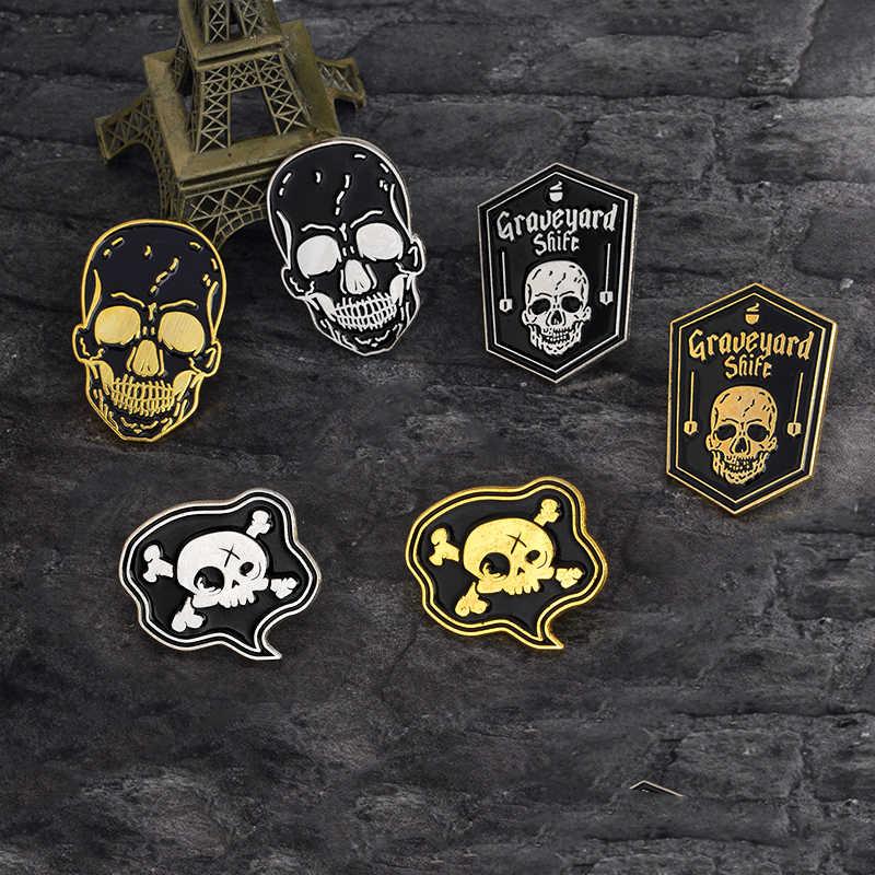 Gothic Kerangka Bros Coffin Hitam Pirate Anchor Perisai AX Tengkorak Lencana Halloween Magical Kekuatan Magis Hadiah Aksesoris