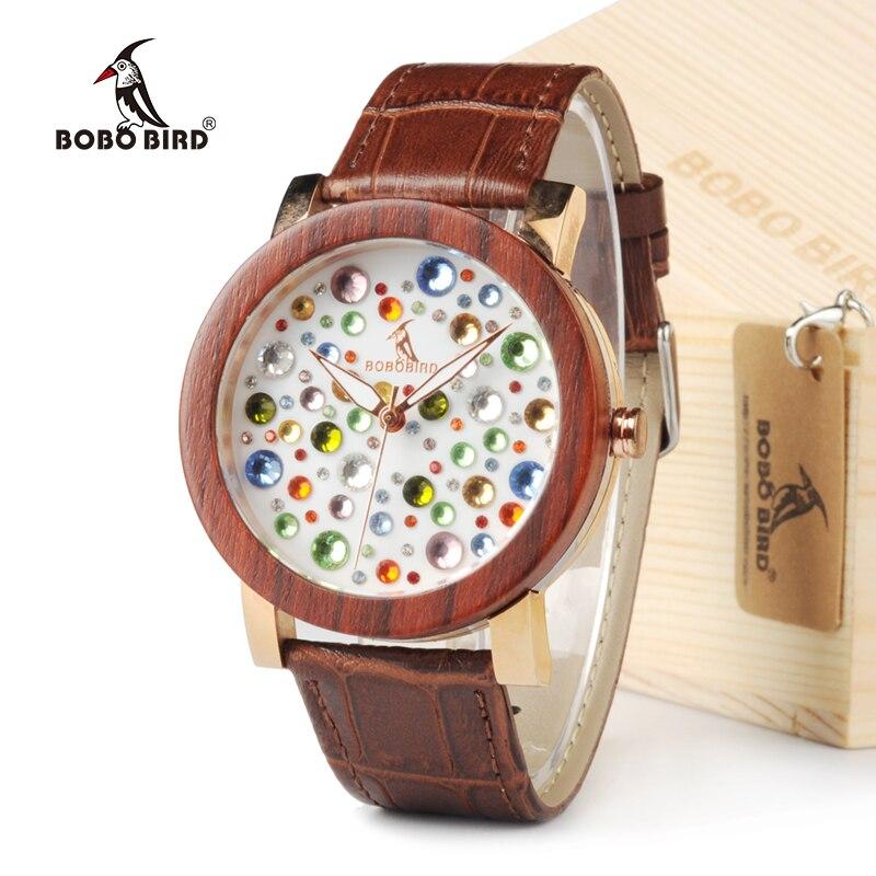 BOBO BIRD Women Top Brand Design Rhinestone Watches Austrian Crystal Ceramic Leather Band Women Dress Watches