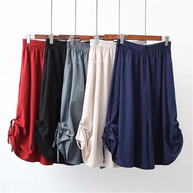 Plus size 2018 summer Solid color high waist cotton linen pantalon femme elastic waist wide leg pants calf-length trousers women