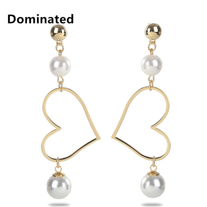 Dominated The New Heart Imitation Pearl Earrings Long Female Fashion Fringe Earrings