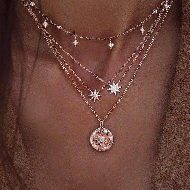 Gold Star Necklace 19071010