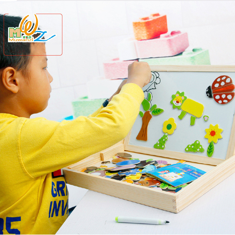 Animal Scenes Fight Toys Wooden Children Early Childhood Education Cartoon Puzzle Drawing Board children s early childhood educational toys the bear change clothes play toys creative wooden jigsaw puzzle girls toys