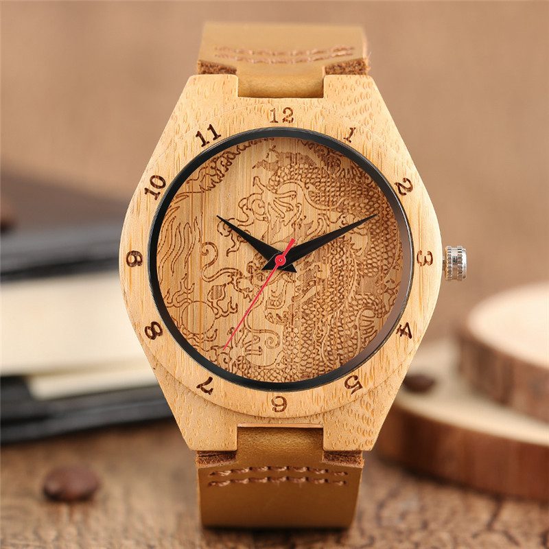 Hand-made Wooden Bamboo Men's Quartz Wristwatch Cool Dragon Design Patterns Dial Genuine Leather Band Classic Fashion Male Watch simple fashion hand made wooden design wristwatch 2 colors rectangle dial genuine leather band casual men women watch best gift