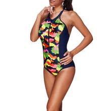 One Piece Swimsuit 2018 New Sport Swimwear Women Vintage Bathing Suits Summer Beach Wear Zipper Front Swimming Suit