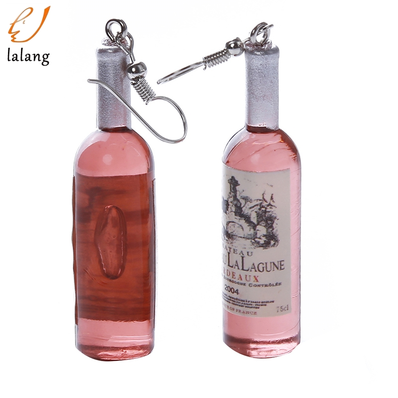 Creative Wine Bottle Pendant Dangle Earrings Fashion Clear Glass Cocktail Red Wine Earrings For Women Earrings Jewelry