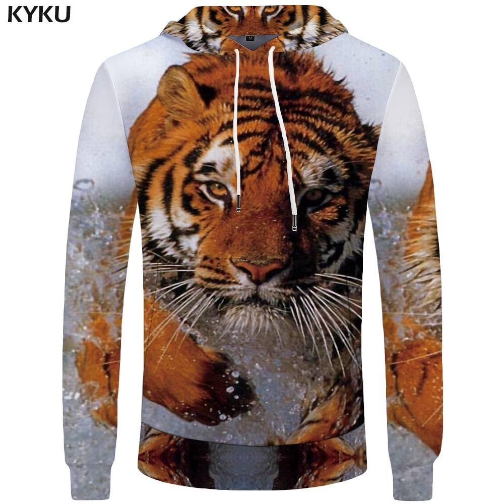 KYKU Tiger Hoodies Men Water 3d Hoodies Animal Sweatshirts Mens Clothing Sweatshirt Pocket Hoddie Tracksuit Sweat shirt