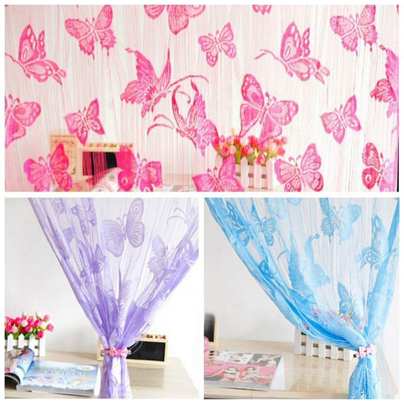 1 pc Black Butterfly Stringed Fringe Curtain Door Window Curtains ...