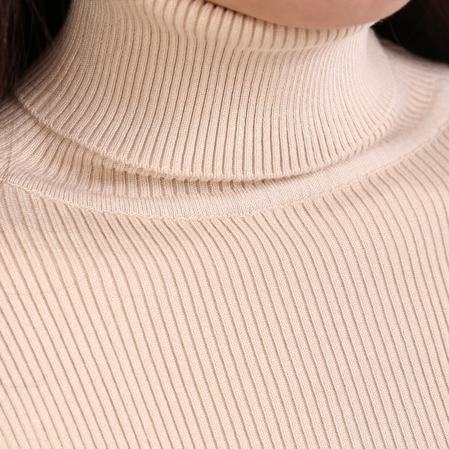Elastic Sweaters Long-Sleeve Female Pullovers Turtleneck Winter Autumn Women Clothes Jumper  Streetwear Knitted Tops Black Red S 2