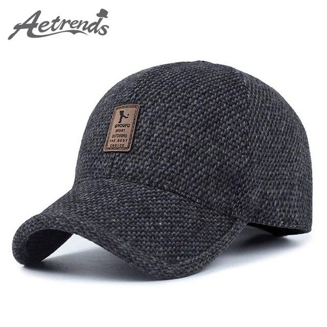 [AETRENDS] Шерстяные Трикотажные Дизайн Зима Бейсболка Мужчины Сгустите Теплый Шапки-Ушанки Z-5000