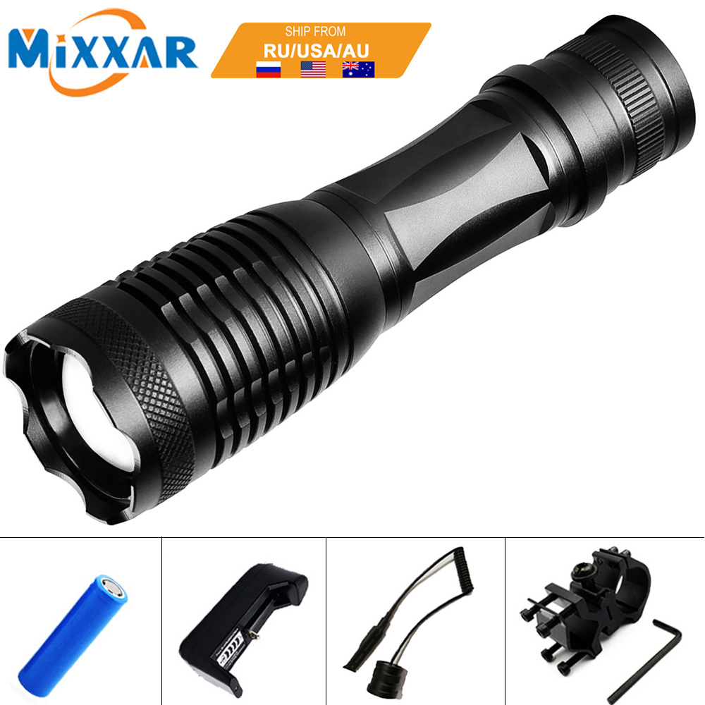 ZK20 LED Tactical Flashlight 9000 Lumens T6 Zoomable 5 Modes Aluminum Lanterna LED Torch Flashlights For Hunting цены онлайн
