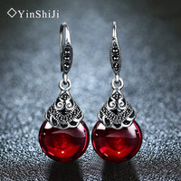 YinShiJi 100 925 Sterling Silver Earrings For Women Retro Round Natural Stones Earrings Vintage Thai Silver