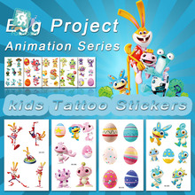 Happy Animation exclusively authorized the Egg Party Cartoon Rabbit Dinosaur Project Temporary Tattoo Sticker Childrens