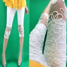 Free Shipping summer women's elastic pencil pants white lace elastic waist legging capris A327