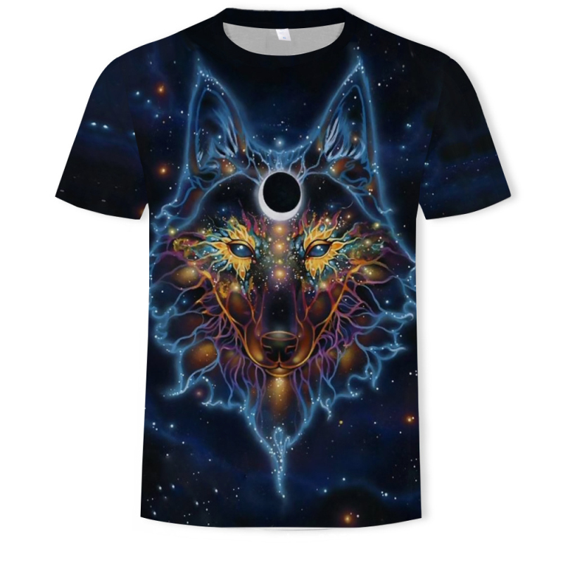 2019 Brand Men 39 s Wolf 3D printing Tshirt Short Sleeve T Shirt Summer Casual Men 39 s O neck Slim T Shirts Size S 5XL streetwear in T Shirts from Men 39 s Clothing