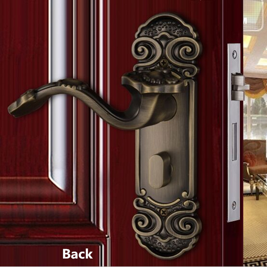 Retro creative Good luck indoor wooden door locks antique bronze bedroom booksoom solid wooden door handle locks boyo style indoor bedroom door lock handle antique bronze wood sub body locks