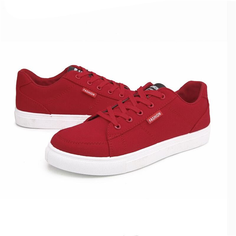 White Black Red Mens Casual Shoes Men Casual Canvas Shoes for Men Breathable Fashion Sneakers Men Footwear 2018 Male Shoes in Men 39 s Casual Shoes from Shoes