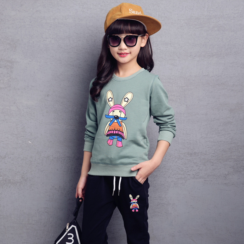 ФОТО Kids girls spring / autumn 2 pcs set 2017 new baby girls sports clothing sets fashion cartoon printing 4/5/6/7/8/9/10/11/12/13