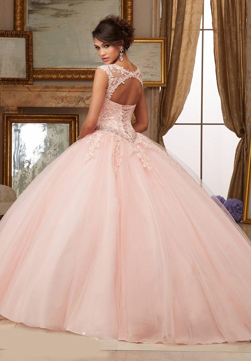 Wejanedress Cap Mangas Scoop Balón vestido de Encaje Vestido de ...