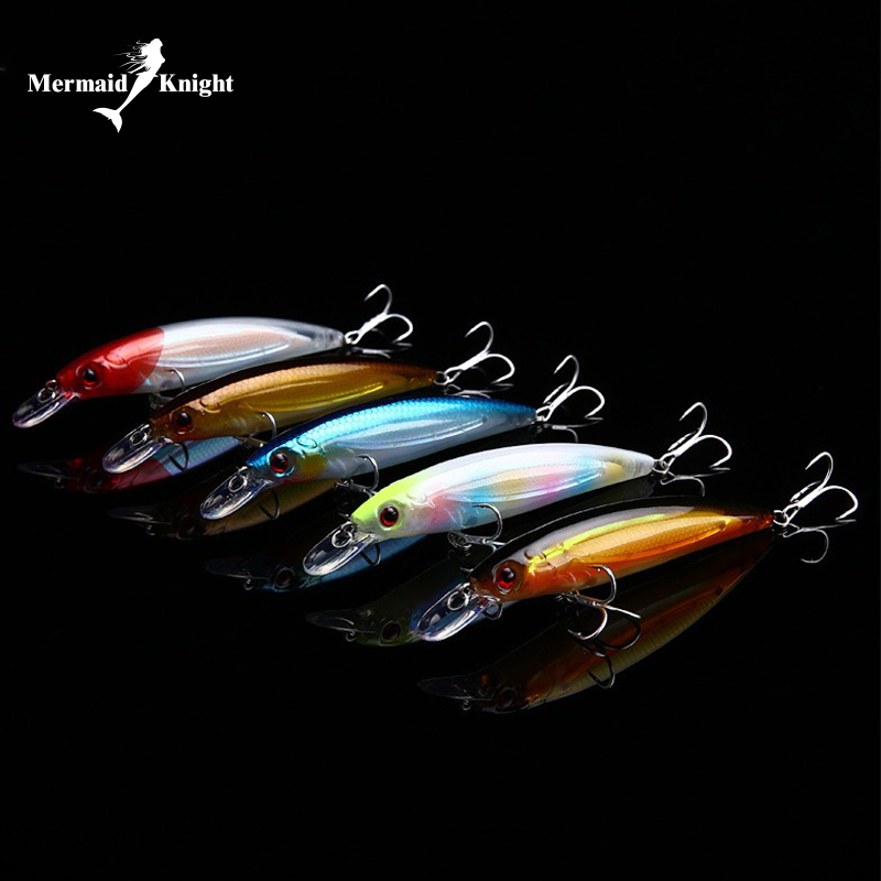 Mermaidknight fishing lures 110mm 14g minnow Plastic Deep Sea Fishing Floating Tackle CrankBait With Hooks Bass Artificial Bait