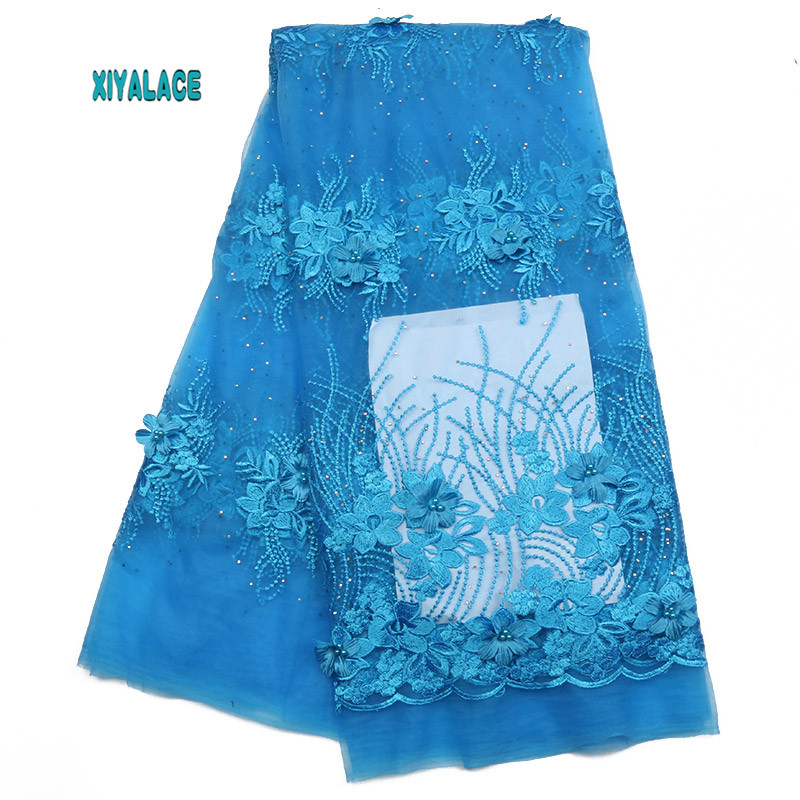 African Lace Fabric 2019 High Quality Lace 3D Flowers Tullle Lace Fabric French Beads Lace Fabric For Party Beads YA2009B-1