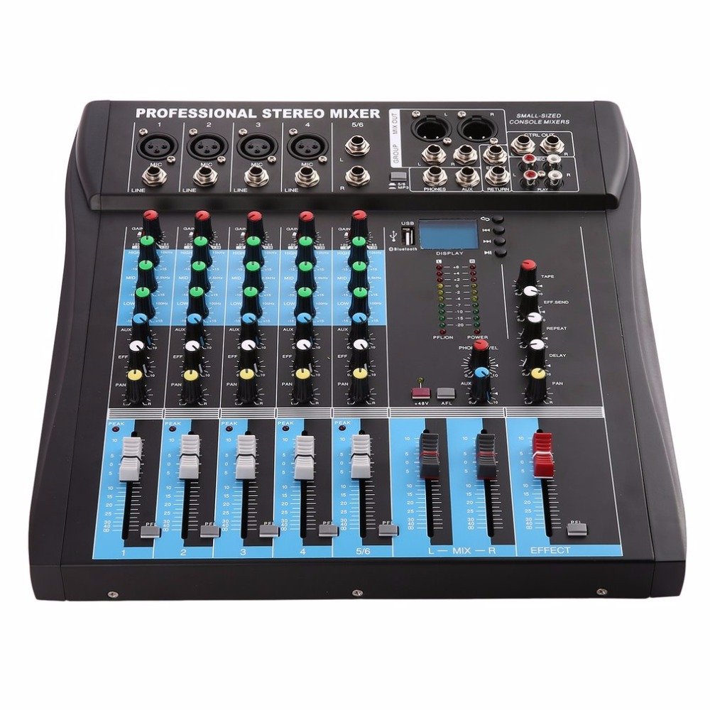 CT6 6 Channel Professional Stereo Mixer Live Audio Sound Console Vocal Effect Processor with 4-CH Mono & 2-CH Stereo Input professional 4 channel live mixing studio audio sound console network anchor portable mixing device vocal effect processor