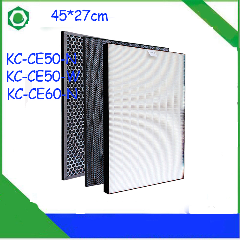 1 Set Air Purifier Heap Filter +Activated Carbon Filter For Sharp KC-CE50-W KC-CE50-N KC-CE60-W Air Purifier for sharp kc ce50 ce60 cg60 air purifier replacement actived carbon catalytic filter fz ce50sd 450 270 10mm
