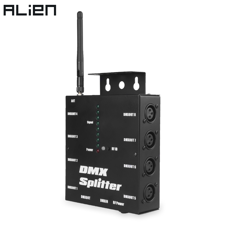 ALIEN 8 Way Wireless DMX 512 3-Pin Isolated Splitter Amplifier With Wireless DMX Transceiver Receiver For DJ Disco Stage Lights