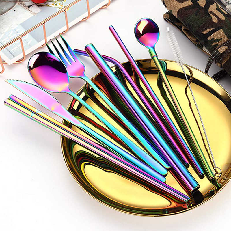 UPORS 9 stks/set Draagbare Bestek Roestvrij Stalen Bestek Set Herbruikbare Vork Lepel Mes Set Metalen Stro met Case Reizen Bestek