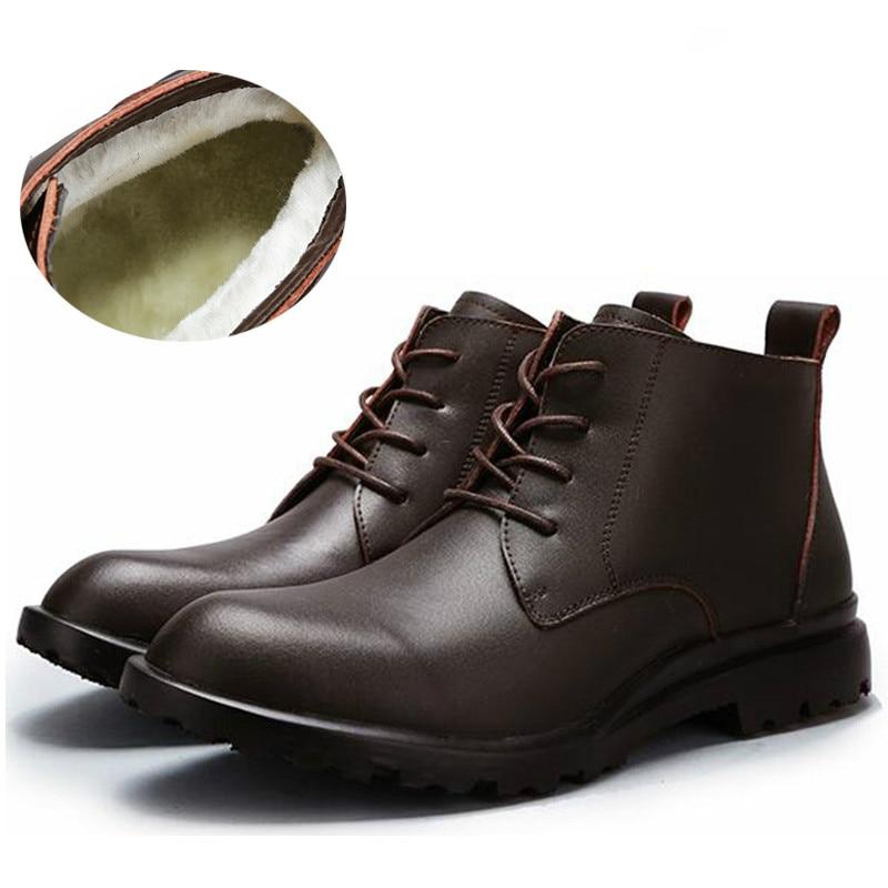 New Men Boots Winter Black Leather Fur Men'S Boots Warm Ankle Boots Men High Quality Leather Autumn Men Shoes HH-846