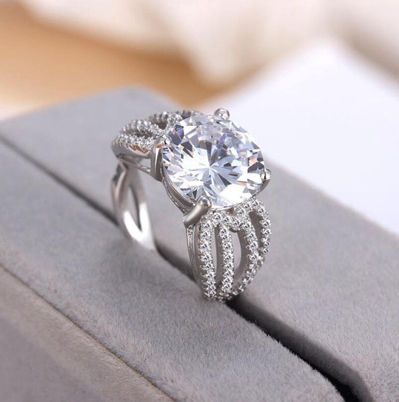 Reinem Silber 3 Karat Vorschlagen Engagement 925 Ring Diamant Paar S925 Ring (LMYS)