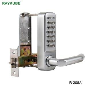 Image 2 - Блокировка двери RAYKUBE с паролем, цифровая механическая клавиатура с кодом, дверной замок без ключа, цинковый сплав, водонепроницаемый телефон