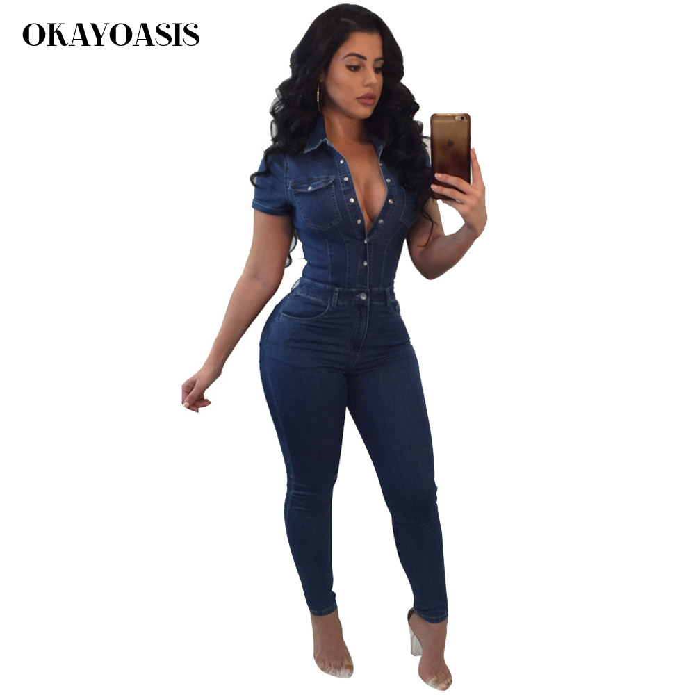 cbc8ff6f6fe1 OKAYOASIS Hot Fashionable Popular 2018 Bodycon Jumpsuit Short Sleeve Denim  Jumpsuit Lapel Neck Summer Long Jumpsuit