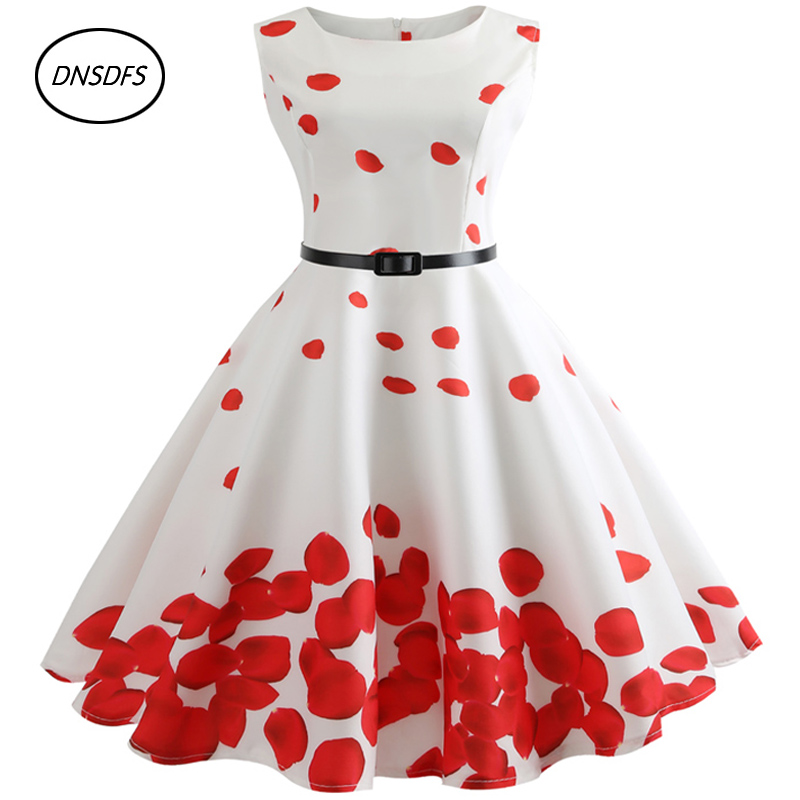 2018 Plus Size Belle Teenagers Summer Dresses 50s 60s Robe Vintage Retro Pin Up Swing Polka Rose printed Rockabilly Dress pinup rockabilly special retro atmosphere beautiful generous banquet hoop rabbit ear