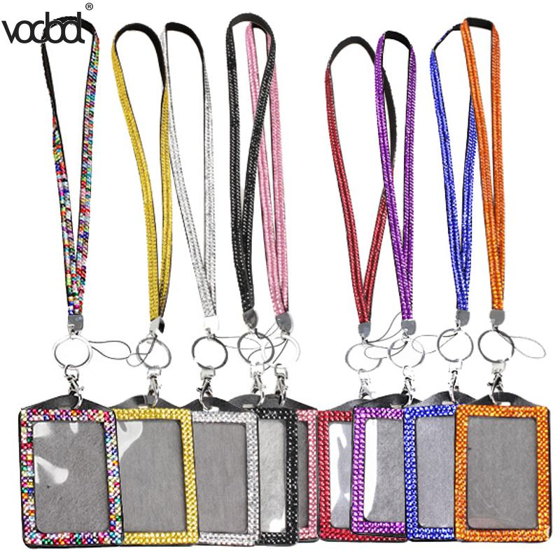 Resin Rhinestone Crystal Card ID Badge Holder With Lanyard Rope Bling Vertical ID Business Card Case Office Papelaria Supplies
