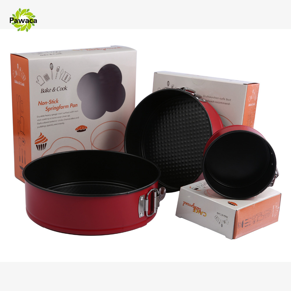 Pawaca New 4 7 9 Inch Round Heart Shape Non stick Springform Cake Mold Metal Cake