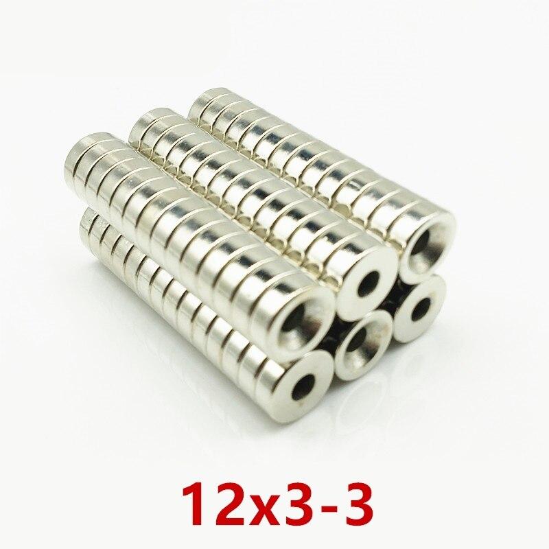 50/100PCS 12x3-3mm Versenkt Neodym Magnet 12x3 Loch 3mm Kleine Runde N52 Super Starke Leistungsfähige magnetische 12*3