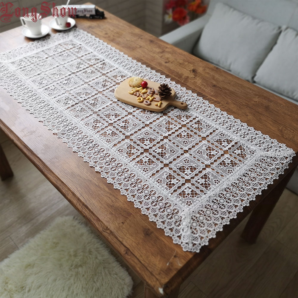 Home Hotel Banquet Party 2019 Newest Modern Geometric Plaid Design Tuape/Coffee Embroidered 100% Polyester Table Runner