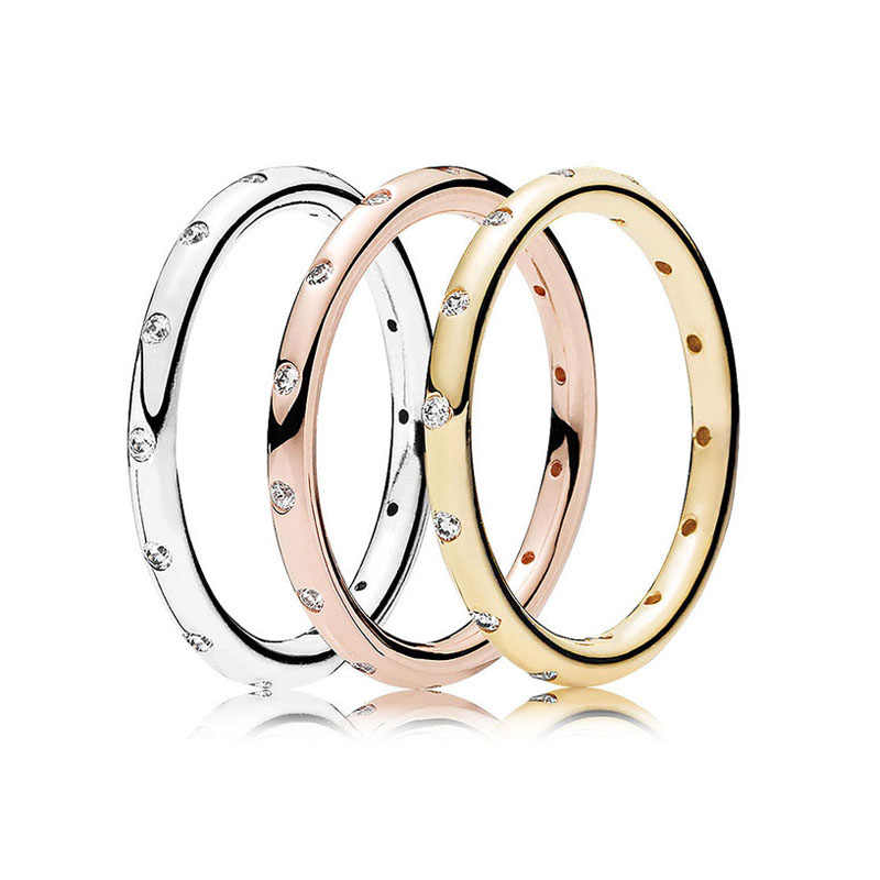 d8695c0ad 30% 925 Silver Rose Golden Droplets Rings Stack With Crystal For Women  Wedding Party Gift