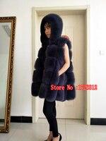 2019 Для женщин теплый натуральный Лисий мех пальто с мехом длинное зимнее натуральным мехом жилетка натурального меха лисы пальто для Для же